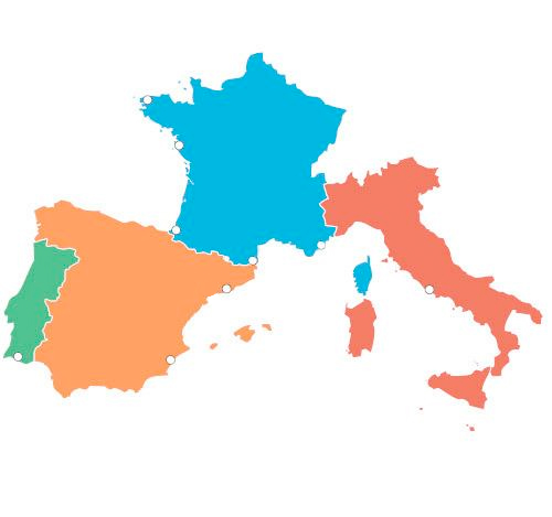Map Of Spain Portugal And Italy.Best Campsites In Europe Europarcs